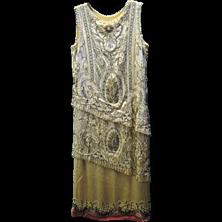 Stunning, Rare Vintage 1920's Sadie Nemser Beaded Flapper Dress