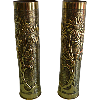 Pair of Vintage French Trench Art Vases/ Ammunition Shells with Decorative Floral Designs