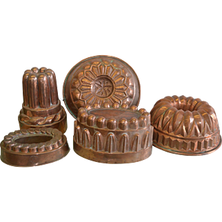 Collection of Five Antique French & English Copper Molds