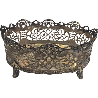 Gorham Sterling Silver Ornately Pierced Cachepot Footed Basket
