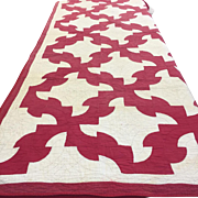 "Antique Red & White ""Drunkard's Path"" Hand Made Quilt, Twin Size"