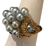 14k Yellow Gold Vintage Cluster Ring with Blue Pearls