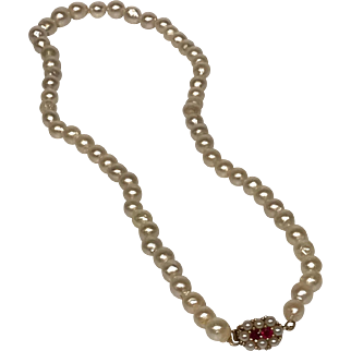 Fine Baroque Pearls with 14k Yellow Gold & Rubies Clasp