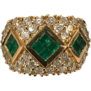 14k Yellow Gold Wide Band Ring with Emeralds and Diamonds