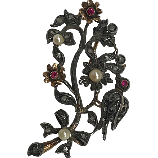 "Circa 1860 Victorian Silver Over Gold ""Bird & Bow"" Pin Brooch with Rubies, Pearls, & Rose Cut Diamonds"