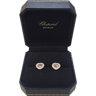 "18k White Gold Chopard Geneve ""Happy Hearts"" Diamond Stud Earrings with Original Box & Certificate"