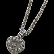 "18k White Gold Chopard Geneve ""Happy Hearts"" Diamond Pendant Necklace with Original Box & Certificate"