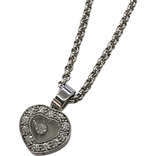 "18k White Gold Chopard Geneve ""Happy Hearts"" Diamond Pendant Necklace with Original Box & Certificate"