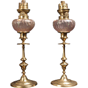 Wow a Wonderfull Pair French Antique Oil Lamps ,Most wanted Pink Glass and Hand painted ,Mounted on Two Original Bronze Candlesticks Louis XVI