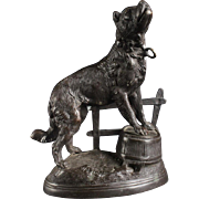 Bronze Sculpture; Valton Charles, Inscribed Figure Of Chained Mastiff Dog