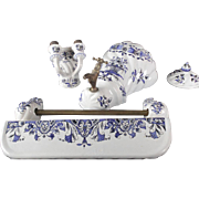 Lovely French Faience Blue and White Wash set / Toilet set Hand painted
