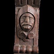 Antique Figural Knight Wooden Oak Hanging Wall Bracket