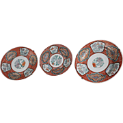 3 Rare Japanese Antique Arita yaki 伊万里  Ko Imari  Porcelain Plates Signed