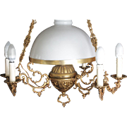 Lovely Large And Heavy French 7 Light Chandelier  Opaline Glass Shade