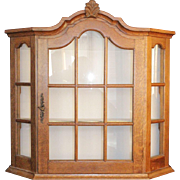 Lovely Hanging Quality Made Oak Porcelain Display Cabinet and Key