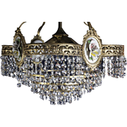 Rare And Beautiful French Vintage Crystal With Porcelain Chandelier