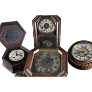 4 Rare Old Antique Collectible Wooden Clocks