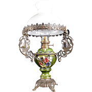 Beautiful Bronze Ships Ornate French Antique Table Oil Lamp .