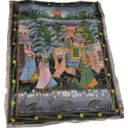 Antique Original Indian Elephant & Figures Procession Painting on Silk