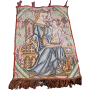 Vintage Folk Art Lovely Hooked Rug with Maria and Child