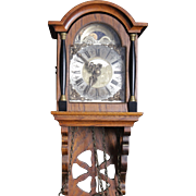 Lovely Vintage Dutch Wall Clock Oak with Brass Weights
