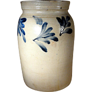 19th Century Blue Decorated PA Stoneware Canning Crock