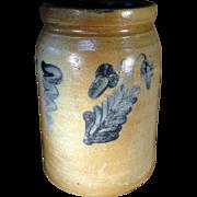 19th Century Blue Decorated SE Pennsylvania Stoneware Canning Crock