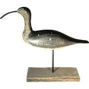 Early 20th C. Curlew Shorebird Decoy in Original Paint