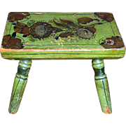 19th C. Pennsylvania Decorated Footstool in Original Paint