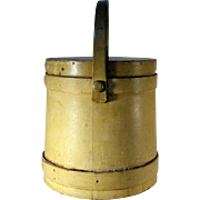 Early 19th C. Wooden Firkin in Old Mustard Paint