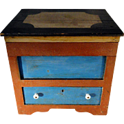 19th C. Miniature Lift-Top Chest w/ Drawer in Original Red and Blue Paint