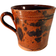 19th C. Redware Cup w/ Manganese Decoration