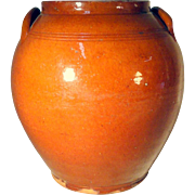 Large 19th C. Ovoid Redware Crock