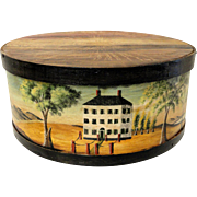 Large 19th C. Cheese Box with Contemporary Rufus Porter Paint Decoration Signed Sandy Howe