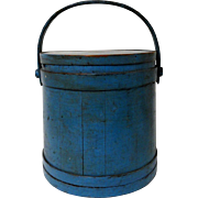 Early 19th C. Firkin in Old Blue Paint Signed Hersey