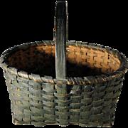 Small Oak Splint Gathering Basket in Windsor Green Paint