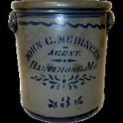 3 Gal. Blue Decorated Western PA Stoneware Advertising Crock