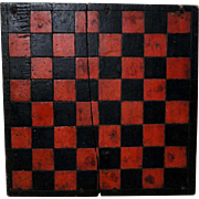 19th C. Checkerboard in Old Paint w/ Make-Do Repair