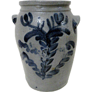 1830's Stoneware Baltimore Crock w/ Blue Decoration