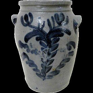 1830's Stoneware Baltimore Crock w/ Blue Decoration