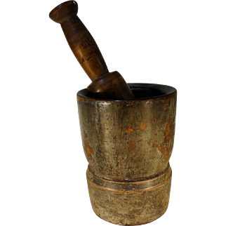 Early 19th C. Mortar and Pestle in Old Original Paint