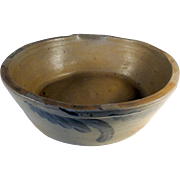 "19th C. Blue Decorated Stoneware Milk Bowl only 3"" Tall"