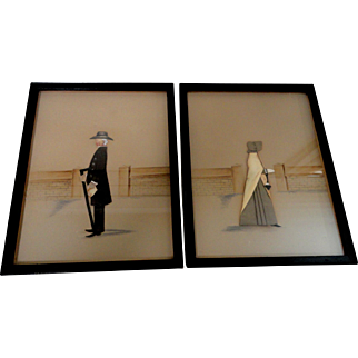 Pair of Mixed Media Silhouettes of Quakers by Rosalie P. Bye West Chester, PA