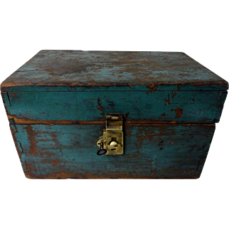 Small 19th C. Tool Box in Old Blue Paint
