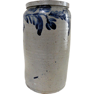 19th C. 2 Gal. Blue Decorated Stoneware Baltimore Tall Crock