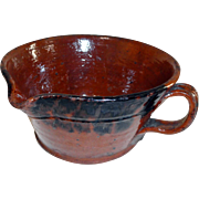 19th C. Redware Porringer with Manganese Decoration
