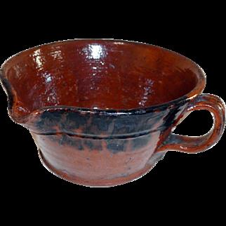 19th C. Redware Porringer with Manganese Decoration