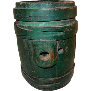 Early 19th C. Wooden N.E. Rundlet in Old Green Paint