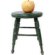 Late 19th C. Miniature Round Stool in Original Green Paint