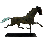 19th C. Full Bodied Copper Running Horse Weathervane w/ Cast Iron Head